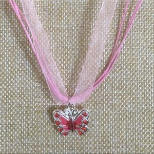 Butterfly ribbon necklace. Pink new!